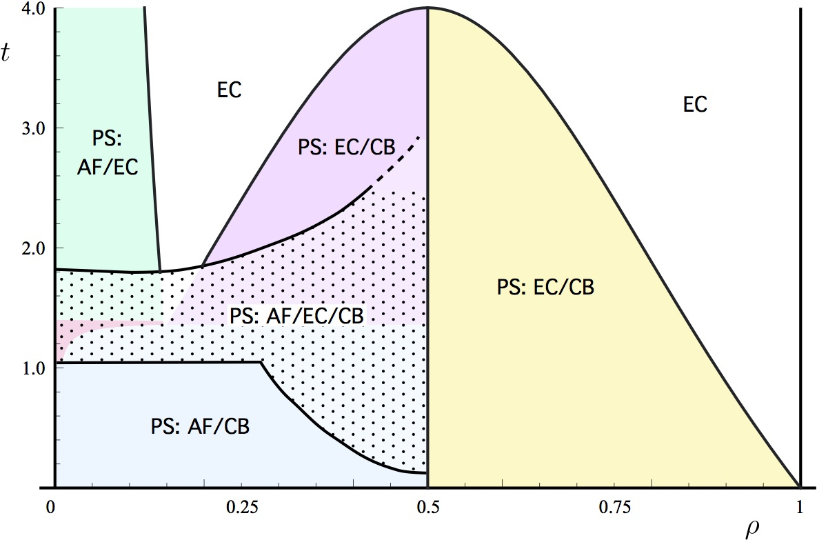 Phase diagram of the exiton t-J model